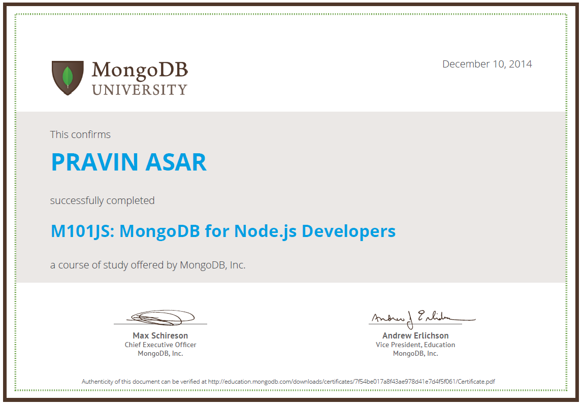 Completed M101JS: MongoDB for Node js Developers successfully